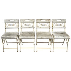 4 French Wrought Iron Wooden Slat Seat Garden Chairs by Maison Provence & Fils