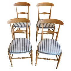 4 French XIX Fruitwood Chairs with New Seats and Upholstered with Vintage Fabric
