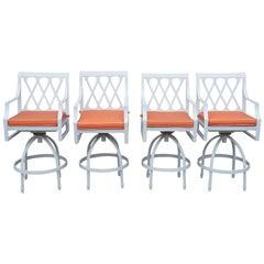4 Frontgate Grayson Swivel Bar Stools White Aluminum Lattice Design Orange Seat