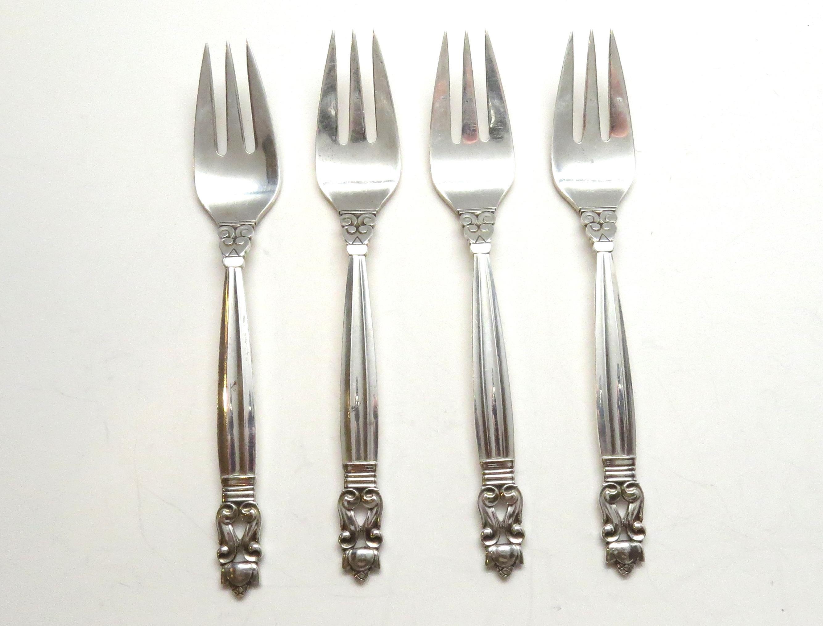 "6-1//2/"" Georg Jensen Acorn Sterling Silver Fish//Salad Fork 3-Tine NO MONOGRAM"