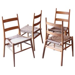 4 German Wicker Chairs from a Protestant Church in Bavaria