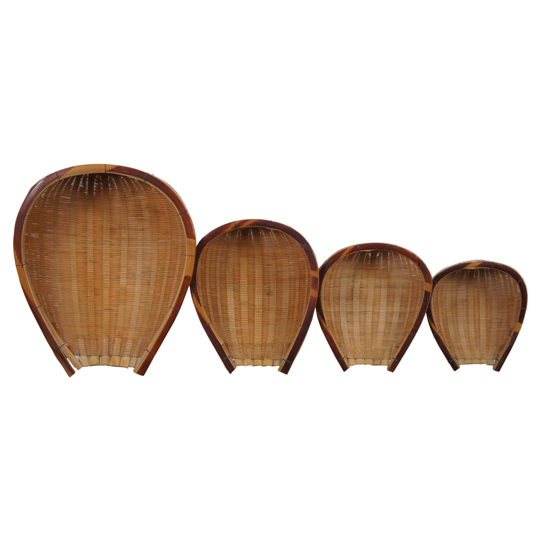 4 Hand Made Wicker Nesting Baskets Fruit Bowls Native Shovel Dust Pan