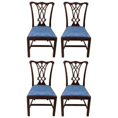 4 Henkel Harris Genuine Mahogany Carved Chippendale Dining Side Chairs 107S