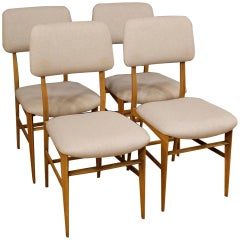 4 Italian Design Chairs in Grey Fabric, 20th Century
