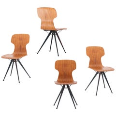 4 Italian Iron and Curved Teak Chairs, 1950s
