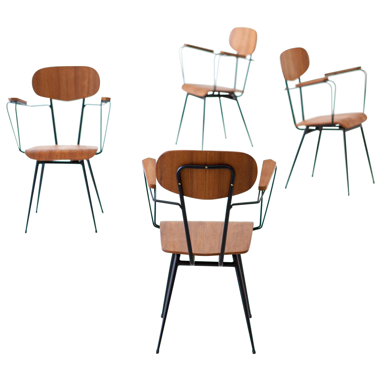 4 Italian Iron and Teak Dining Chairs, 1950s