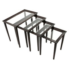 4 Italian Nesting Tables in Wood and Glass, 1940s