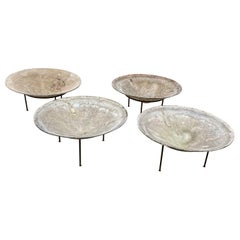 4 Large Eternit Saucer Planters Designed by Willy Guhl with Wrought Iron Base