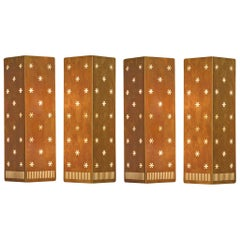 4 Large Paavo Tynell Wall Lamps for Idman, Perforated Brass, Finland, 1953