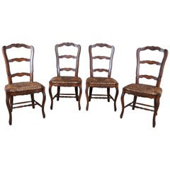 4 Lewis Mittman Country French Ladderback Dining Chairs Rush Seat Farmhouse