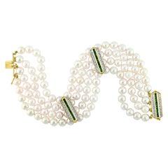 4-Line Japanese Akoya Pearl Emerald and Diamond Bracelet Yellow Gold