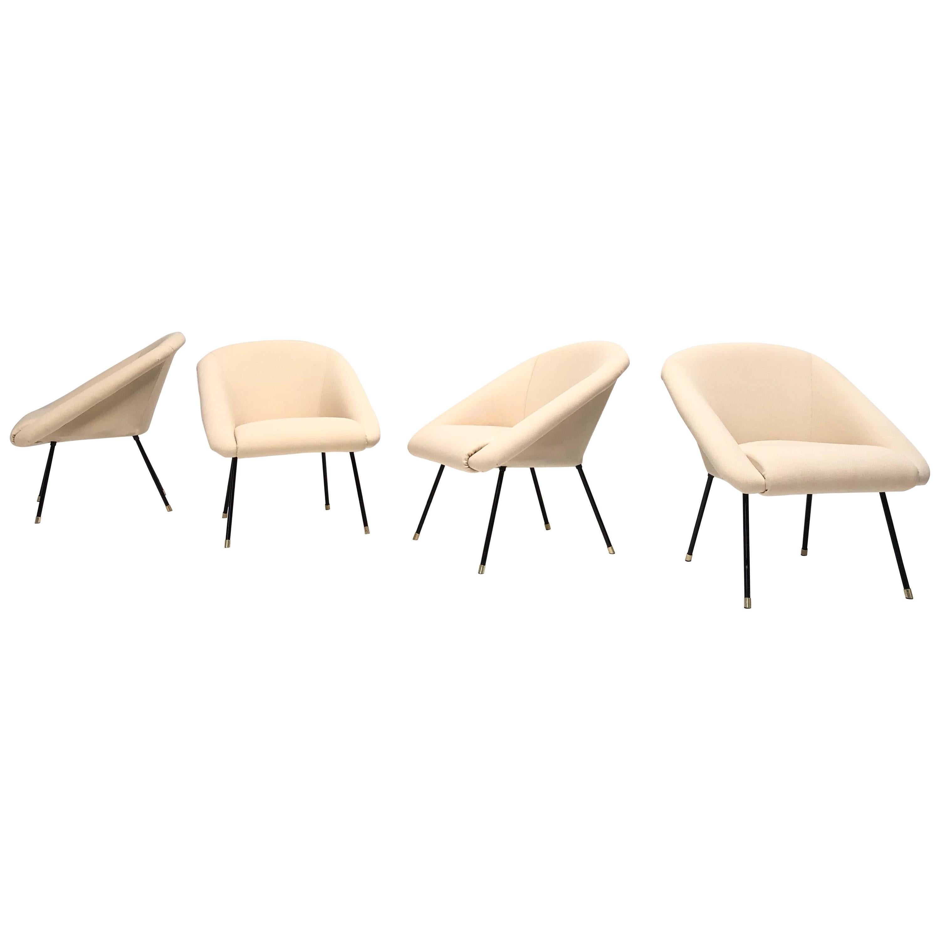 """""""4 Little Italians"""" Lounge Chairs 1950s Fully Restored with New Upholstery"""