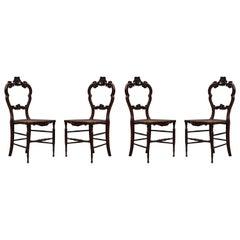 4 Louis Philippe Style Walnut and Vienna Straw Italian Chairs, 1940