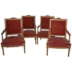 4 Louis XVI Style Chairs, Napoleon III Period, Partially Gilded