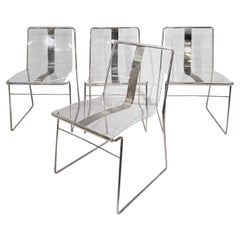 4 Lucite Chairs by Jacques Charpentier