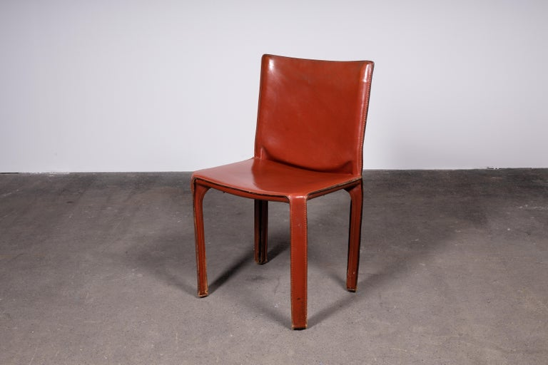 Mid-Century Modern Mario Bellini CAB 412 Chairs in Cognac Leather for Cassina For Sale