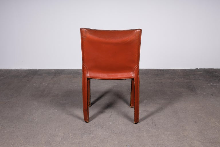 Mario Bellini CAB 412 Chairs in Cognac Leather for Cassina In Good Condition For Sale In Grand Cayman, KY