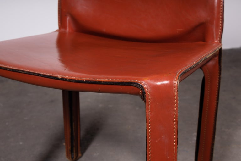 20th Century Mario Bellini CAB 412 Chairs in Cognac Leather for Cassina For Sale