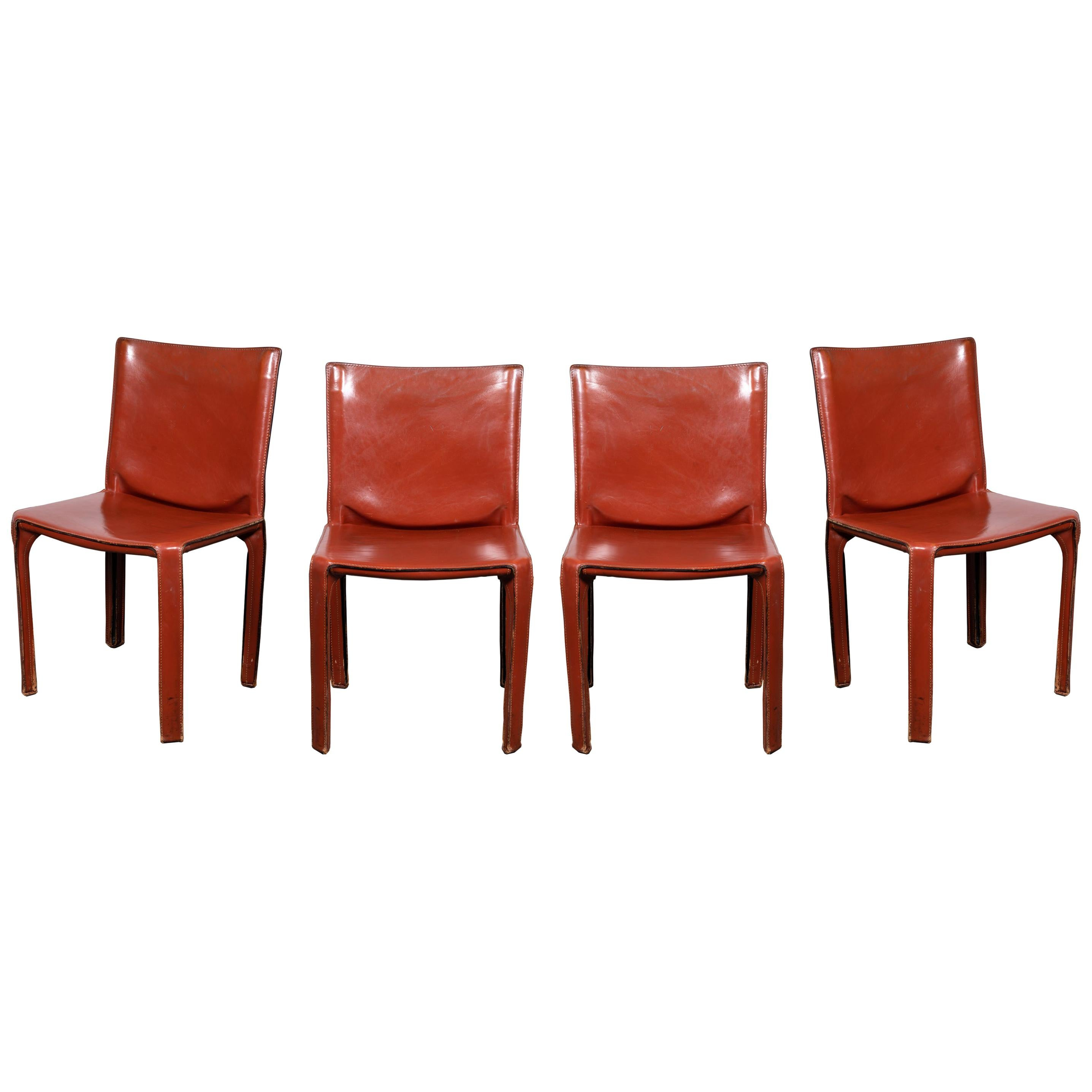 Mario Bellini CAB 412 Chairs in Cognac Leather for Cassina