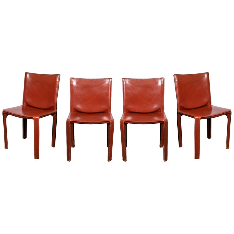 Mario Bellini CAB 412 Chairs in Cognac Leather for Cassina For Sale