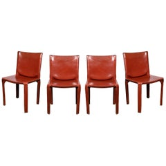 4 Mario Bellini CAB 412 Chairs in Russian Red Leather for Cassina
