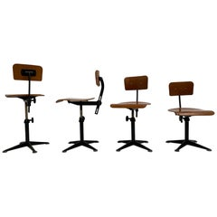 4 Matching Black Drafting Working Stools by Friso Kramer, Ahrend De Cirkel, 1960