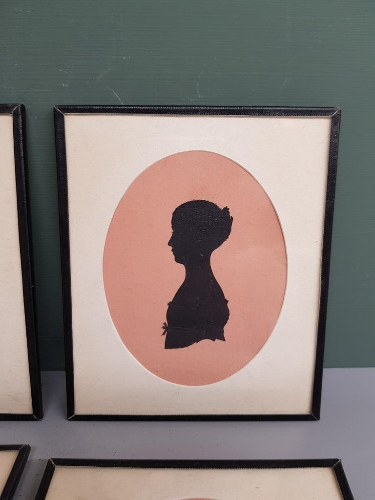 European 4 Mid-19th Century Miniature Silhouettes of Probably a Mother with Daughters For Sale