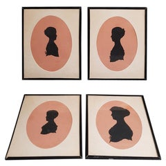 4 Mid-19th Century Miniature Silhouettes of Probably a Mother with Daughters