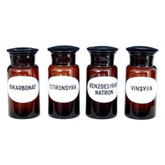 4 Mid-20th Century Swedish Apothecary Glass Jars