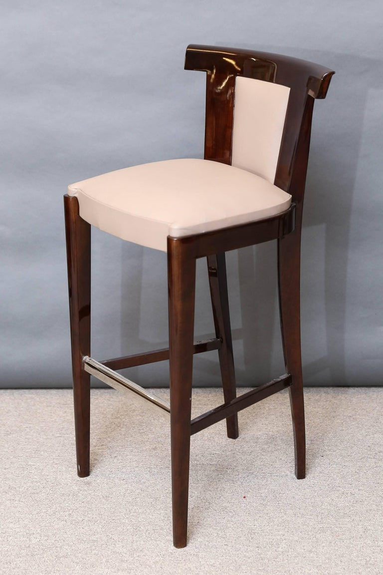 Four Midcentury French Bar Stools In Walnut For Sale At