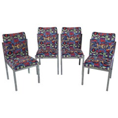 4 Mid-Century Modern Colorful Geometric Chrome Side Accent Dining Chairs MCM