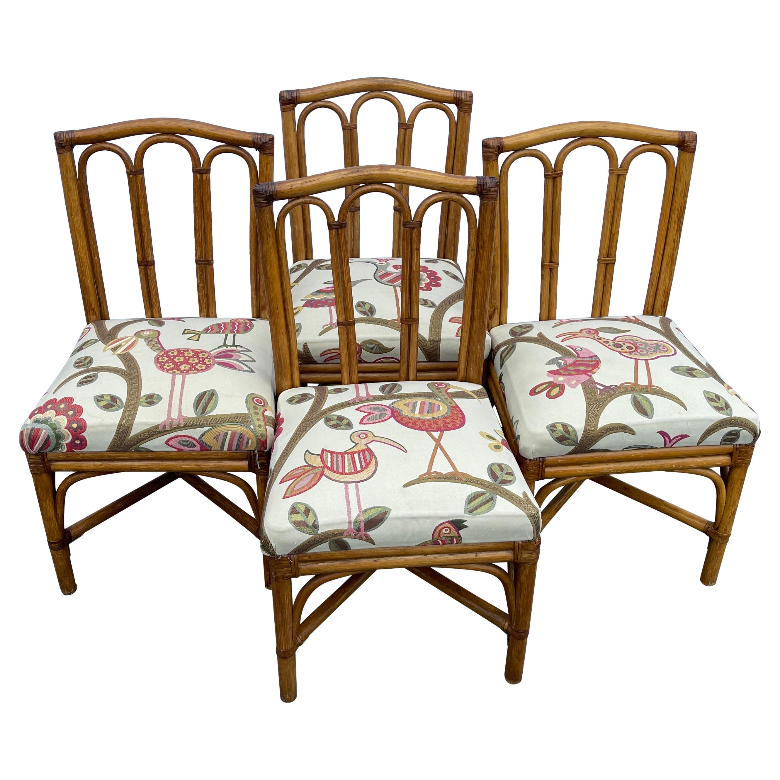 Mid-Century Modern Rattan Dining Chairs, Set of Four