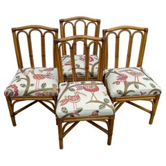 4 Mid-Century Modern Rattan Dining Chairs, Set of Four