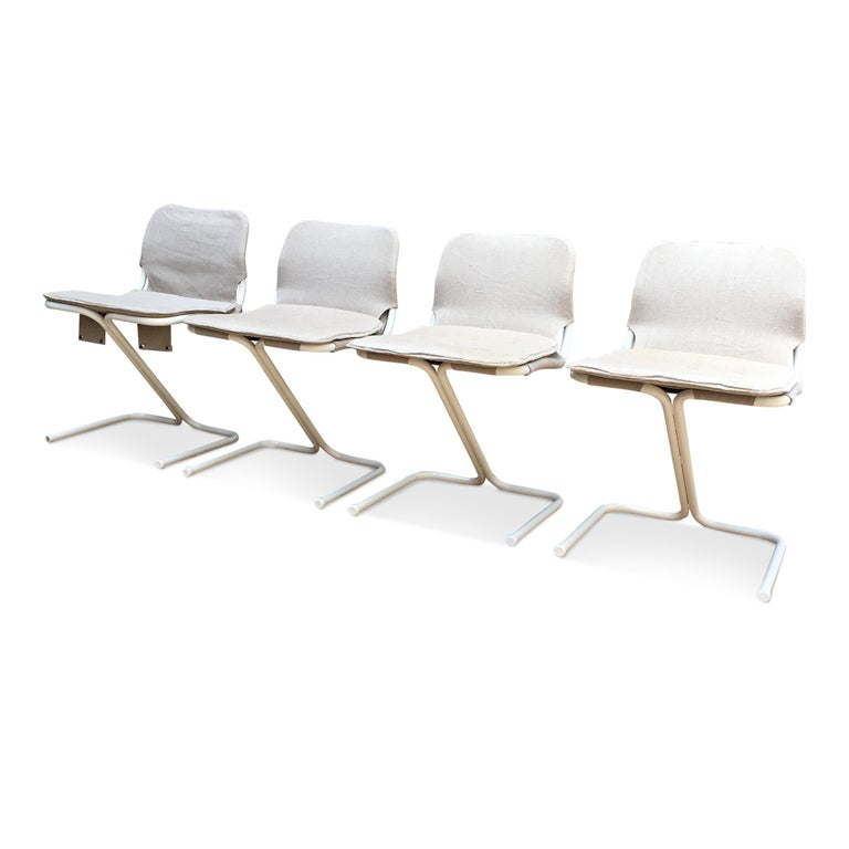 Scandinavian Modern 4 Midcentury Swedish White Metal Stackable Chairs from DUX, 1968 For Sale