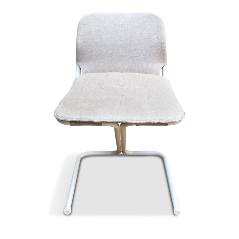 Mid-20th Century 4 Midcentury Swedish White Metal Stackable Chairs from DUX, 1968 For Sale