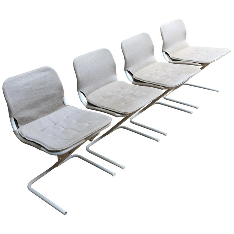 4 Midcentury Swedish White Metal Stackable Chairs from DUX, 1968 For Sale