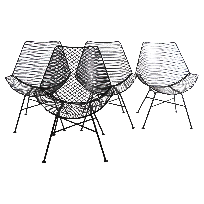 4 Mid Century Wrought Iron Lounge Chairs att. to Tempestini for Salterini
