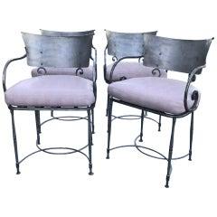 4 Midcentury Brushed Metal Modernist Garden Armchairs