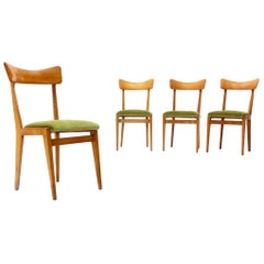 4 Midcentury Green Velvet and Wood Italian Dining Chairs, 1950s