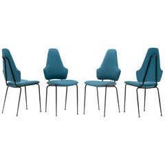 4 Midcentury Modern Black Metal and Fabric Italian Dining Chairs, 1950s