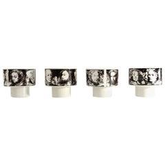 4 Midcentury Porcelain Cups 'Uomini Illustri' by Pietro Annigoni for Porcellane