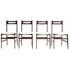 4 Midcentury White Velvet and Wood Italian Dining Chairs, 1950s
