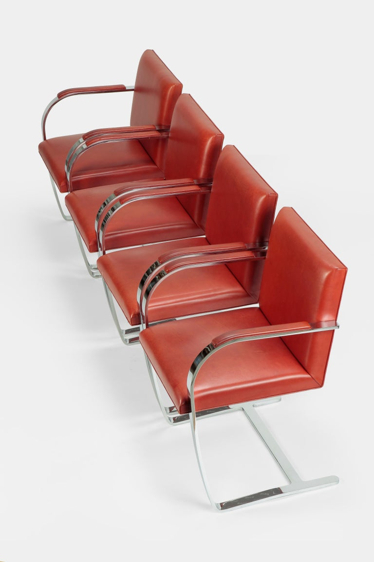 Four Mies van der Rohe Brno chairs manufactured by Knoll International in the 1960s in France. Classic Mies van der Rohe: The Brno chair, the Czech name for Brno. Design from 1930, simple profile, clear lines and minute attention to detail. This