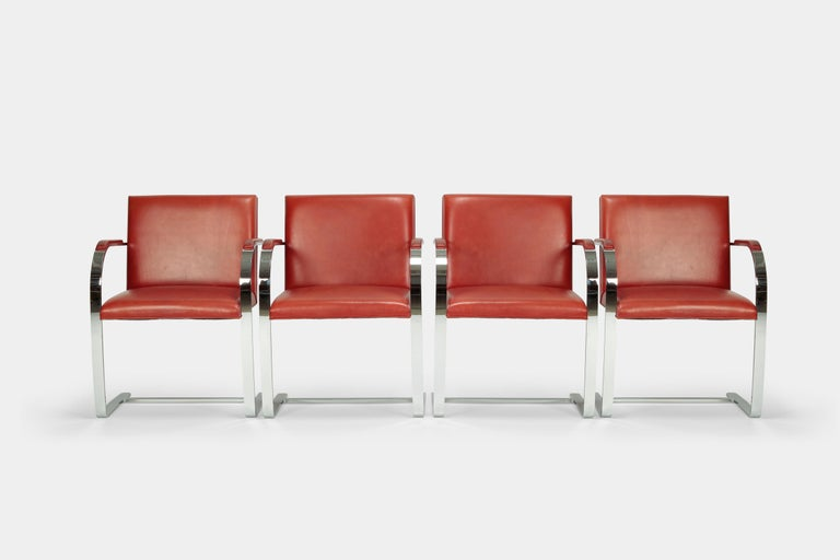 4 Mies Van der Rohe Brno Chairs Knoll Int, 1960s In Good Condition For Sale In Basel, CH
