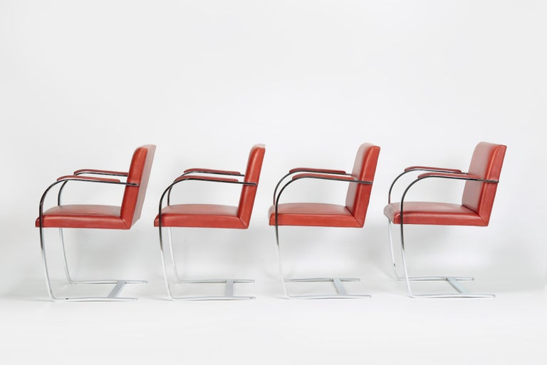 Mid-20th Century 4 Mies Van der Rohe Brno Chairs Knoll Int, 1960s For Sale