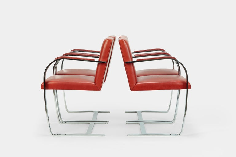 Chrome 4 Mies Van der Rohe Brno Chairs Knoll Int, 1960s For Sale