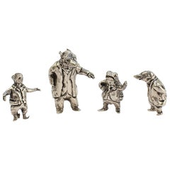 4 Miniature Sterling Silver Wind in the Willows Figures by Sterling E Lanier