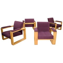 4 Modern Open Frame Club Chairs with Floating Seat in Oak and Aubergine Fabric