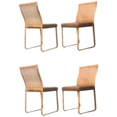 Pair Modern Tropical Woven Cane Chairs with Removable Leather Seats