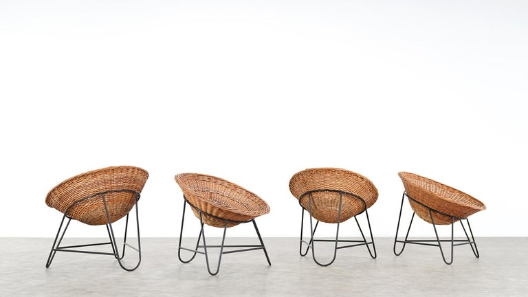 4 Modernist Wicker Chair in style of Mathieu Matégot circa 1950, France Tripod For Sale 3